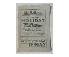 New Zealand railways (NZR) 1940 easter holiday timetable book for trains and 'road motors'.